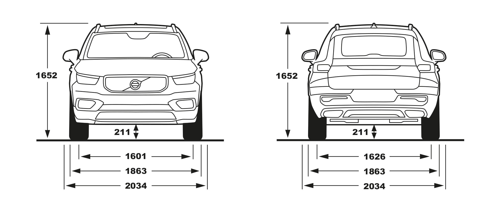XC40 front and rear view of dimensions