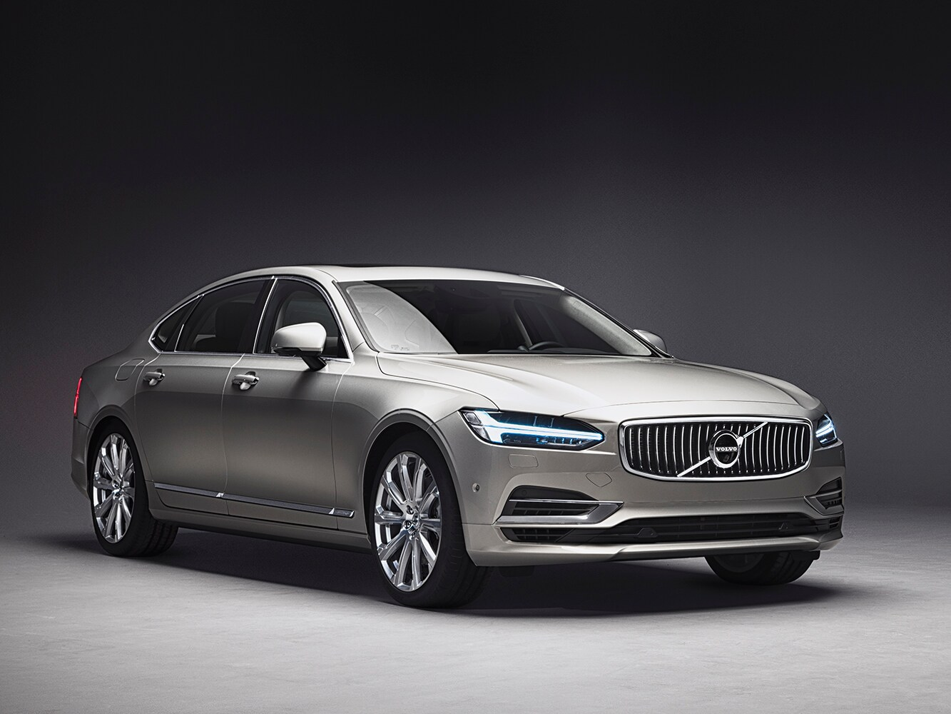 A front side view of the Volvo S90 luxury saloon
