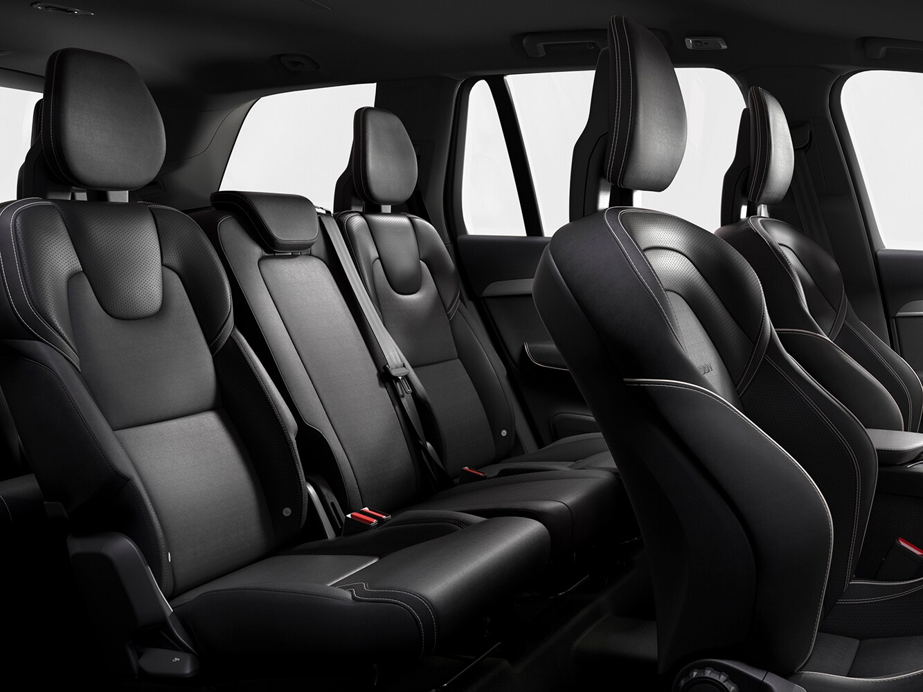 Interior view of contour sets upholstered in Perforated Nappa Leather/Nubuck textile inside the Volvo XC90 R-Design