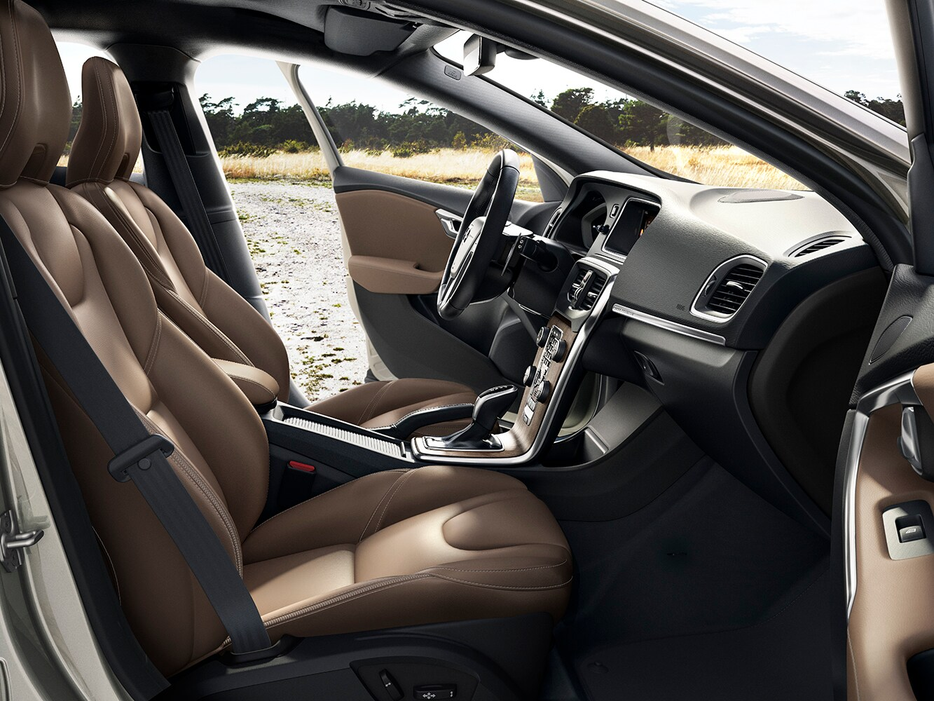 Interior view with charcoal headlining and part leather upholstered seats in the Volvo V40 Cross Country
