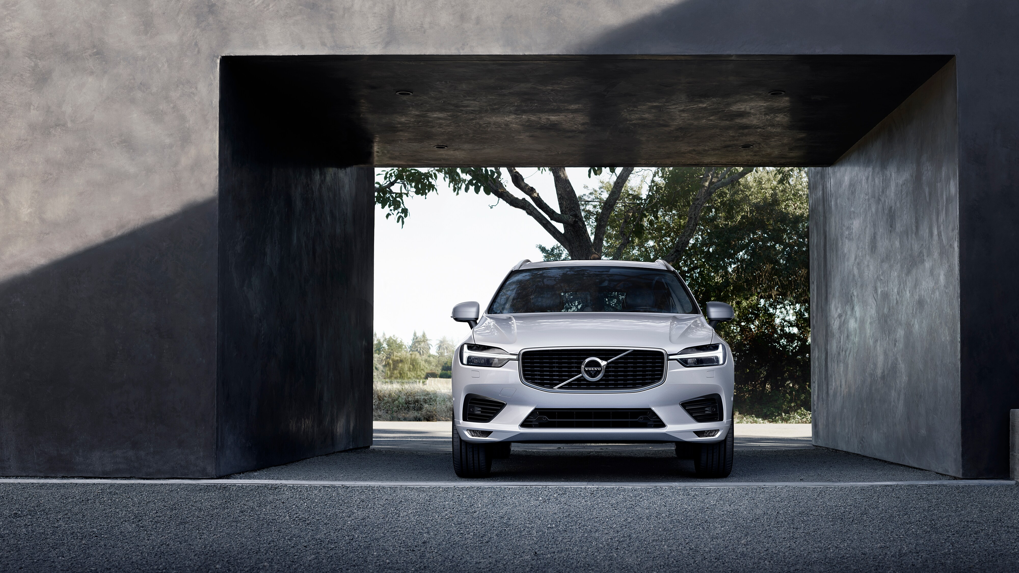 The new Volvo XC60 T8 Twin Engine plug-in hybrid parked in a covered parking bay