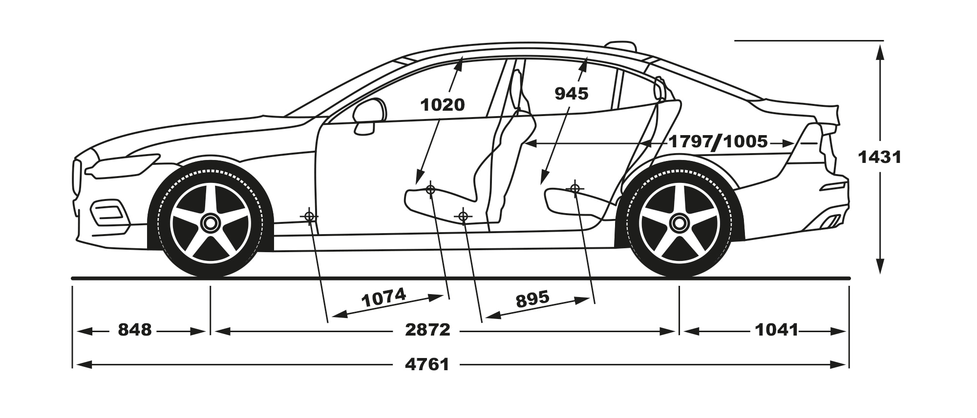 Volvo S60 side view of dimensions