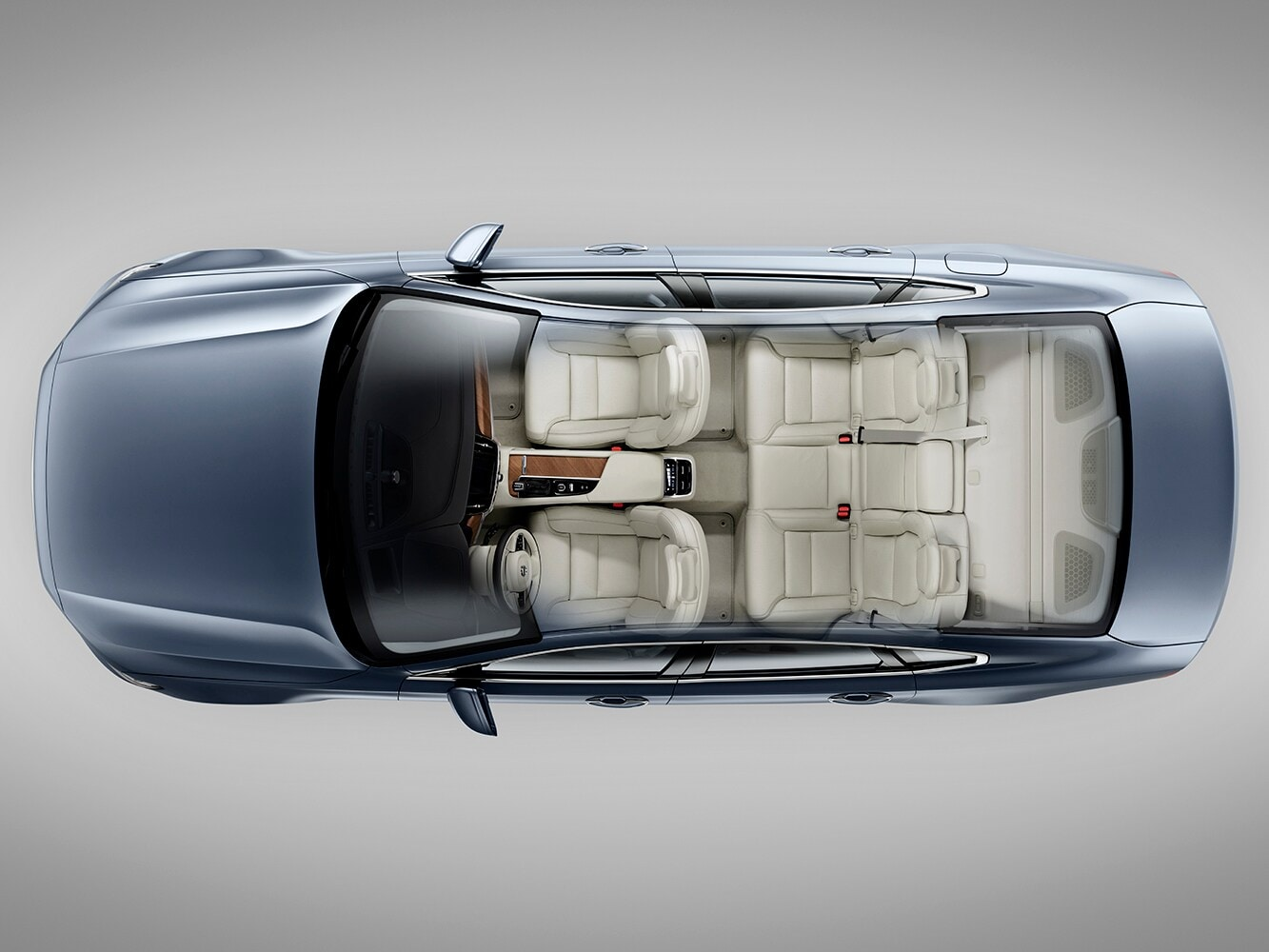 Top down cutaway view of the Volvo S90 showing the interior seat layout from above