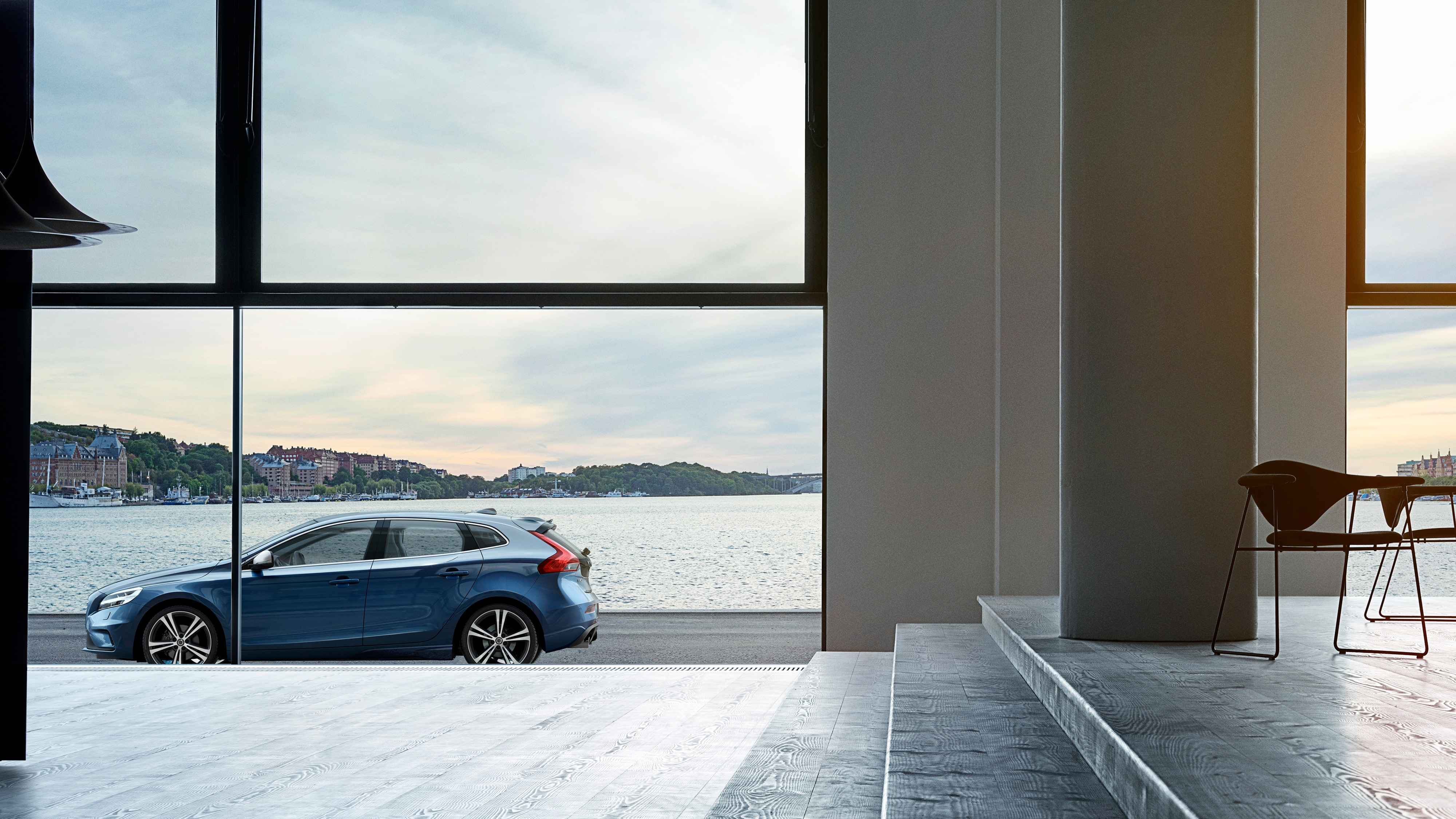 Side view of Volvo V40 R-Design through a window