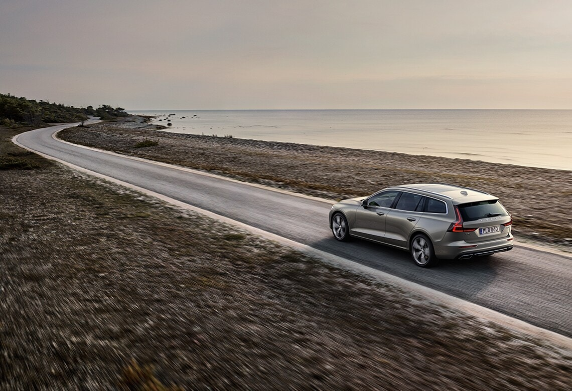 Volvo V60 sporty estate on a multilane road