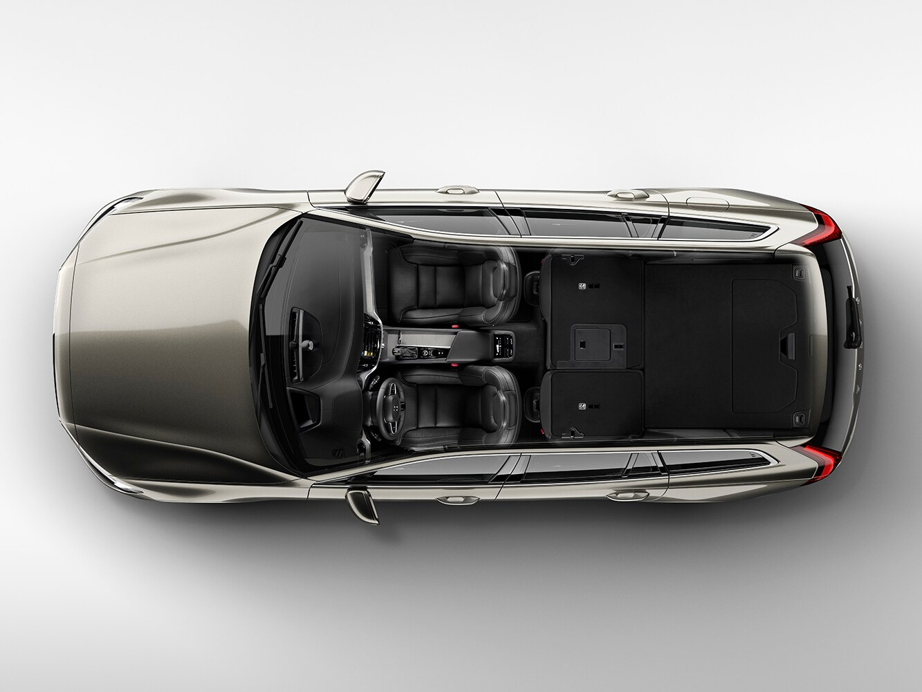 Top down cutaway view of the Volvo V60 showing the interior seat layout from above