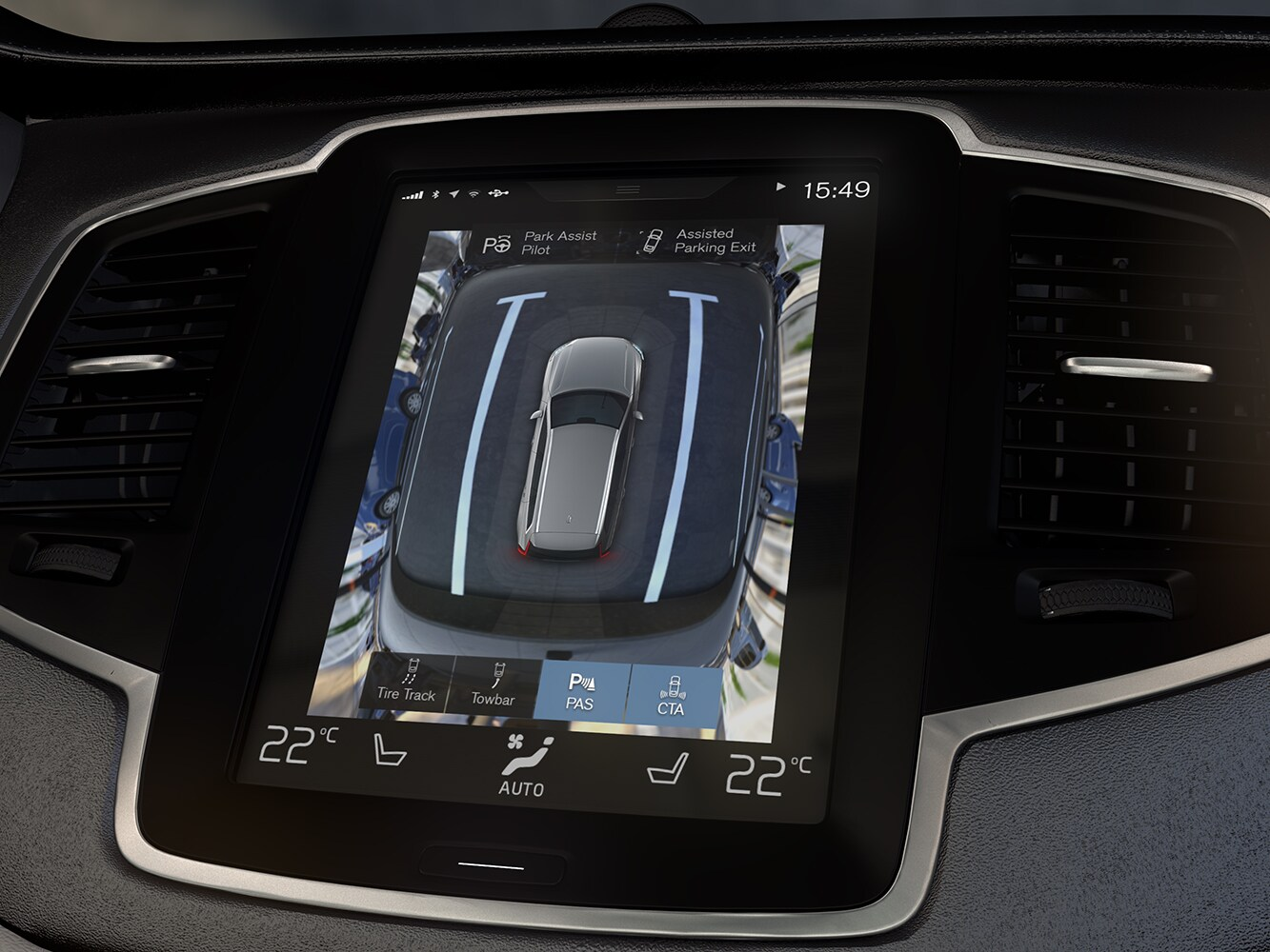 Close up of the centre console in the Volvo V90 with 360 camera function