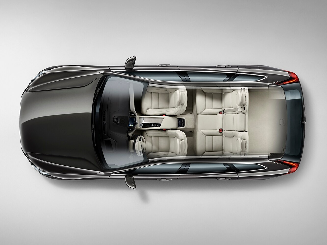 Top down cutaway view of the Volvo XC60 showing the interior seat layout from above