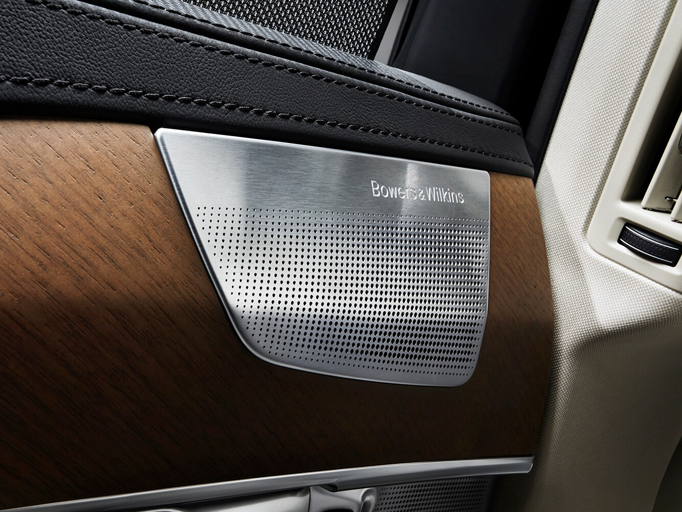 Close up of Bowers & Wilkins door mounted speakers in the Volvo XC90