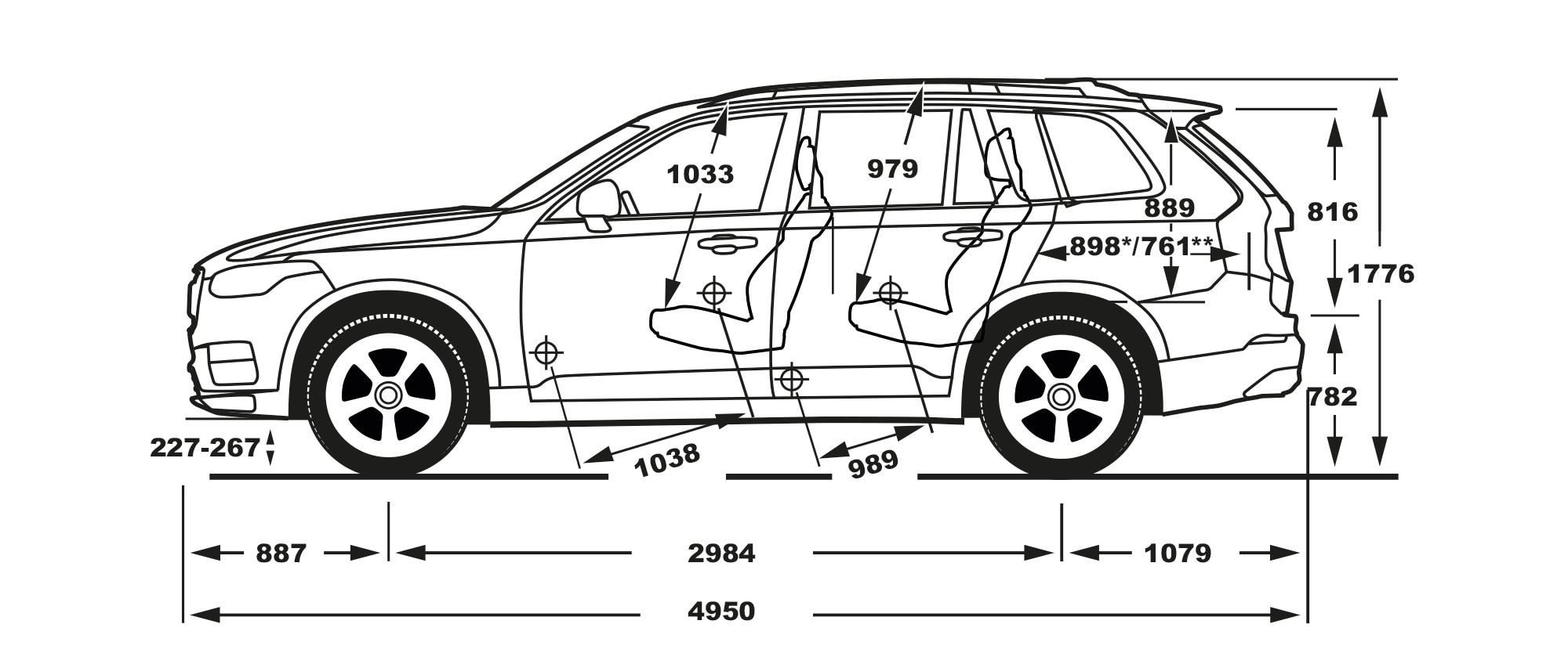 XC90 side view of dimensions