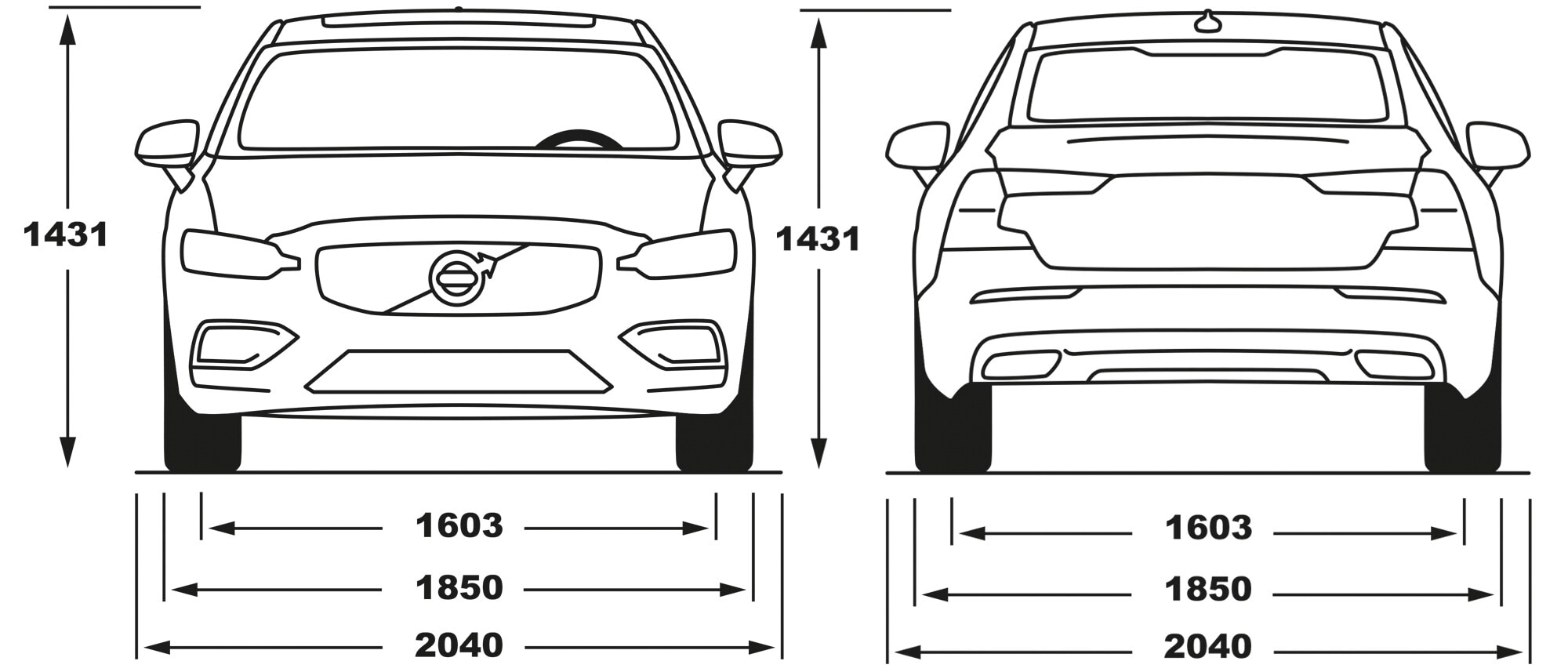 Volvo S60 front and rear dimensions