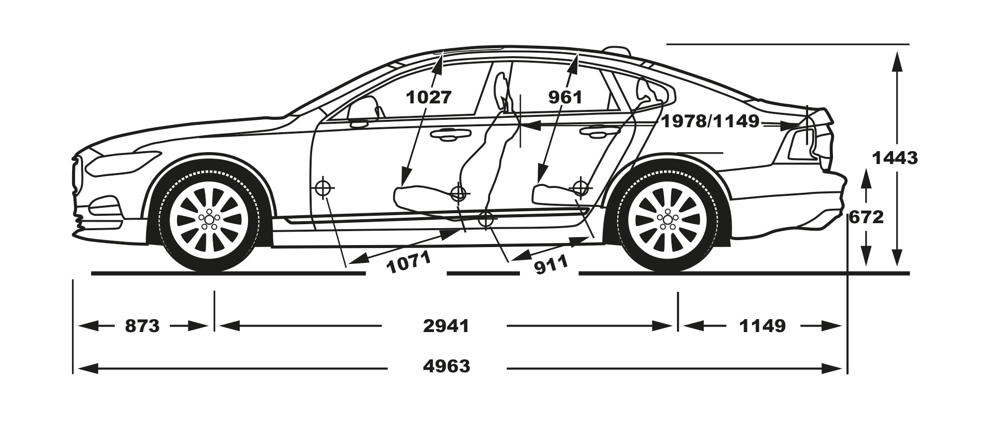 S90 side view of dimensions