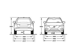 XC60 front and rear view of dimensions