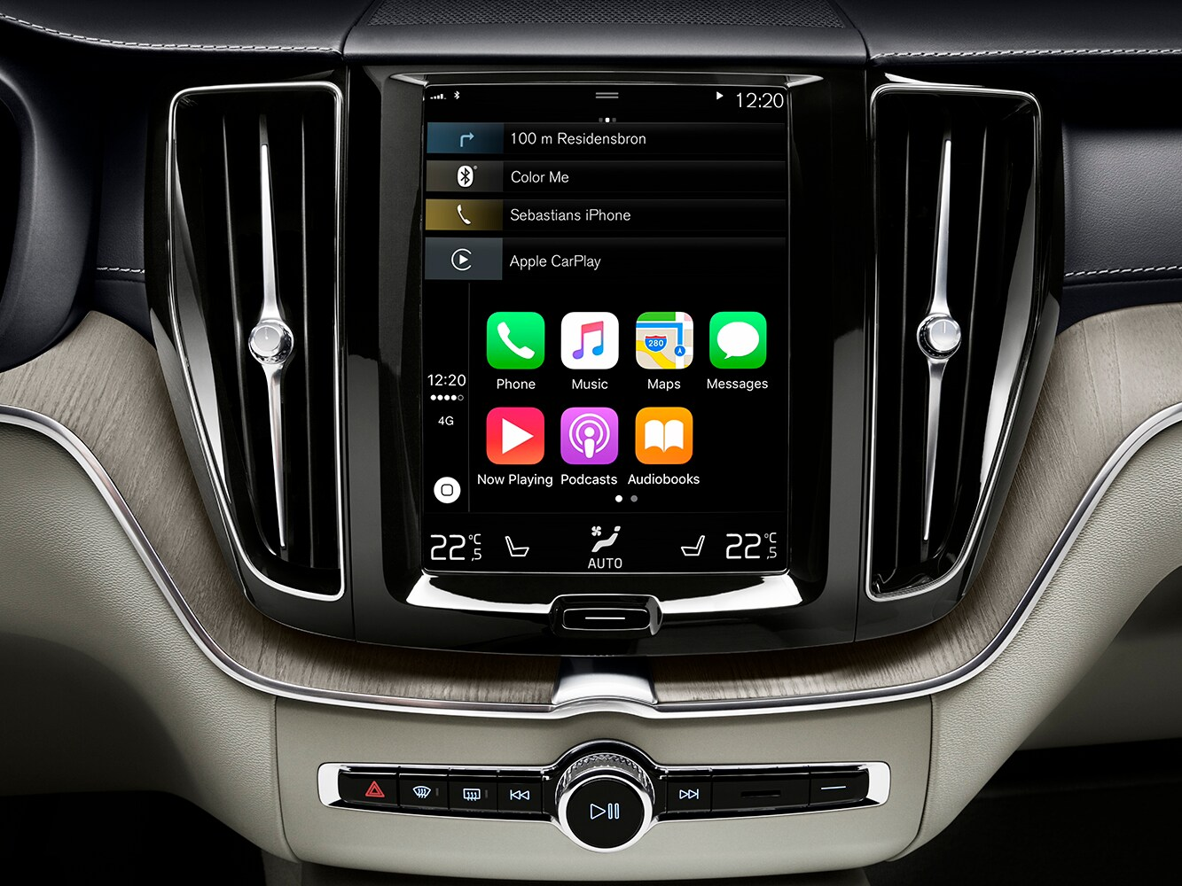 Close up of the centre console in the Volvo XC60 with Airplay function