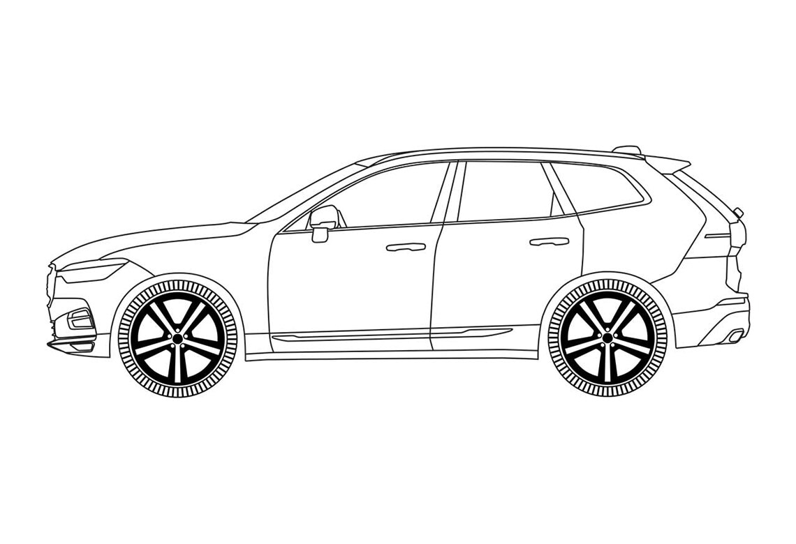 Volvo XC60 car outline drawing.