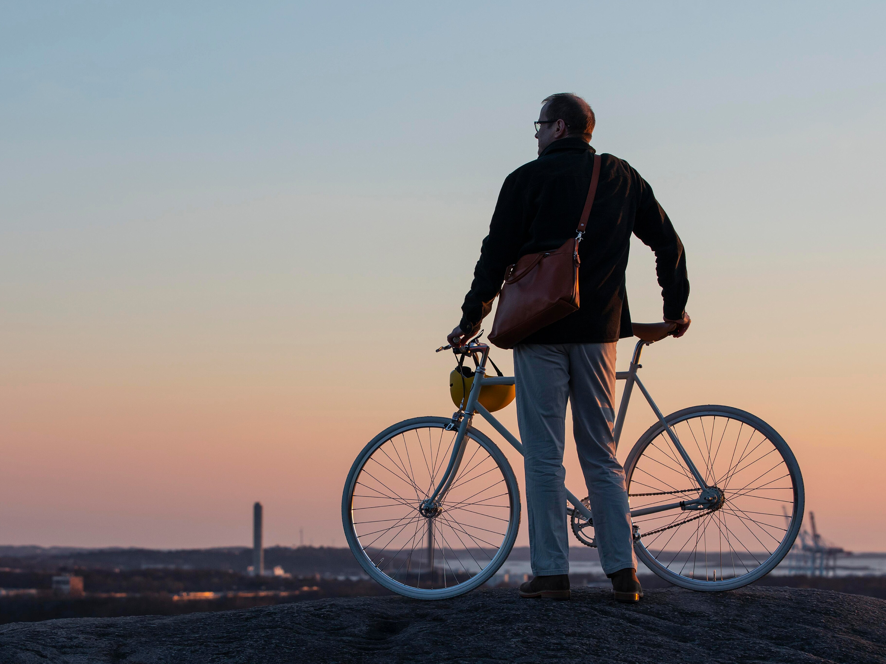 Robert Thomson, professor of vehicle safety at Gothenburg's Chalmers University, stands by his bike