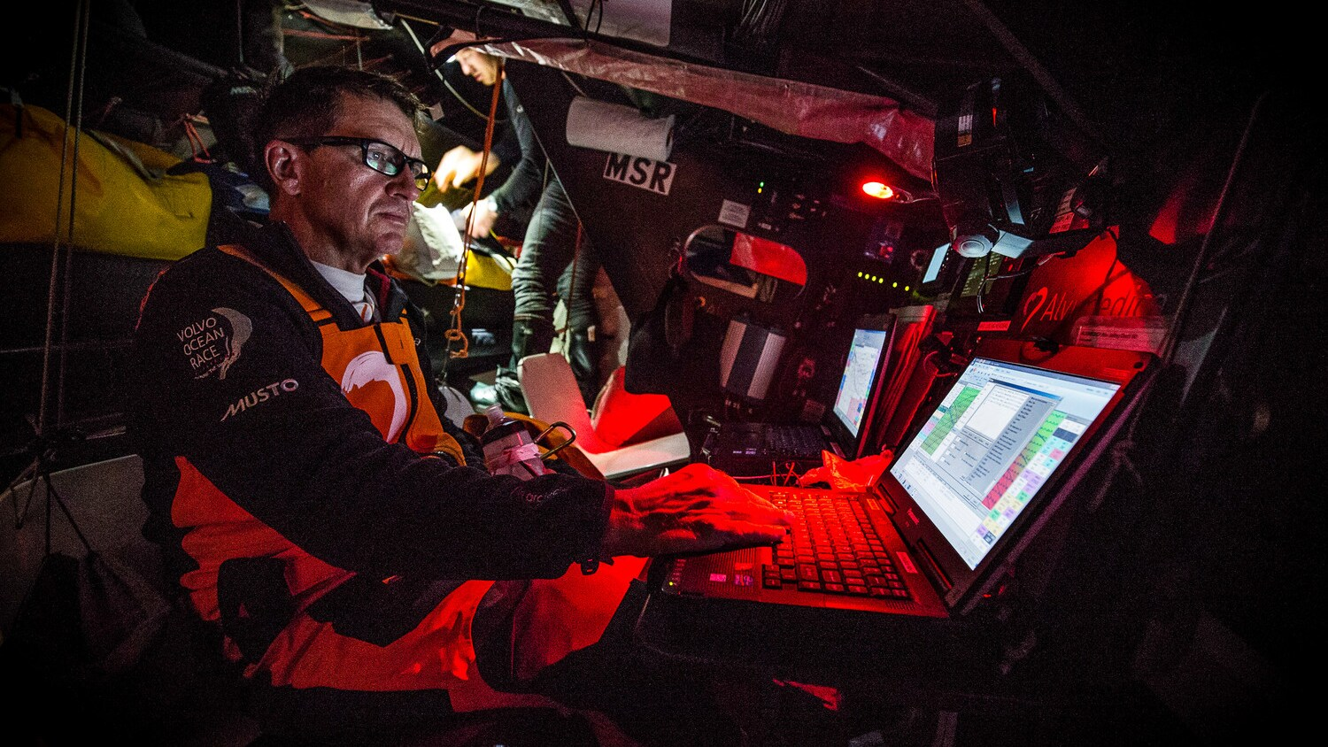 High-tech communications equipment onboard a Volvo Ocean Race 65 yacht