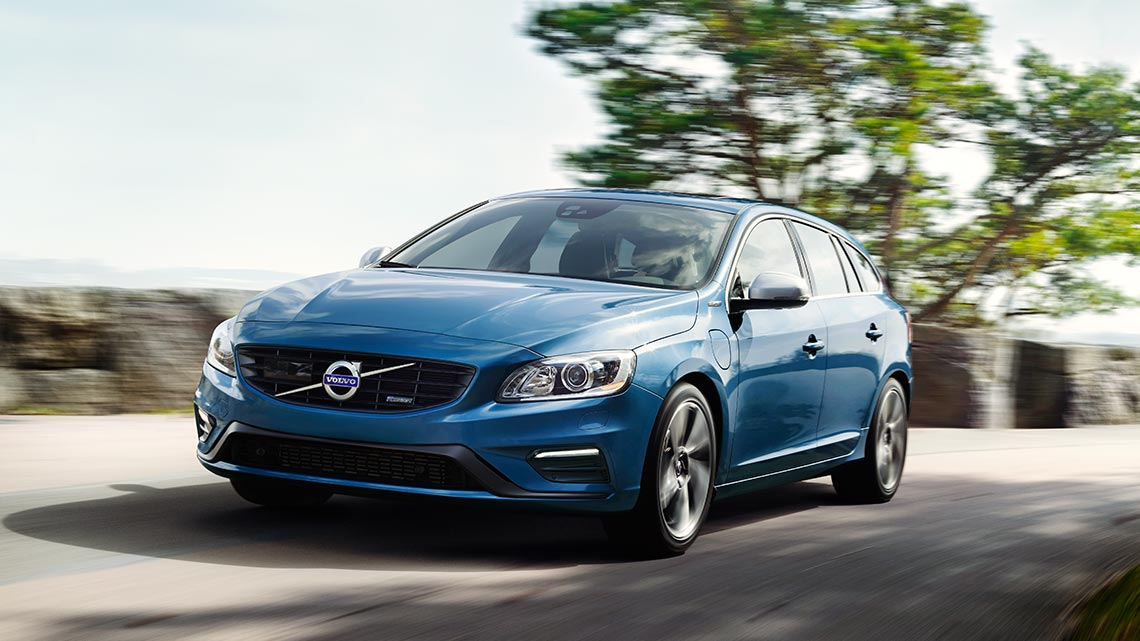 Blue Volvo V60 plug-in hybrid